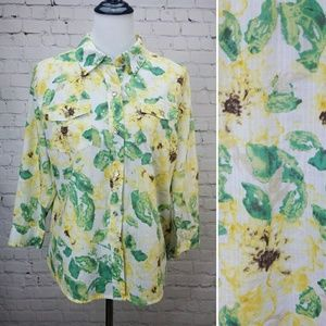 🌻KAREN SCOTT🌻 Floral Cotton Button Up Blouse